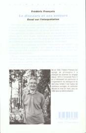 Discours Et Ses Entours Essai Sur L'Interpretation - 4ème de couverture - Format classique