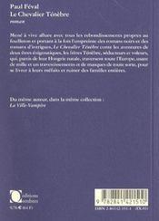 Le Chevalier Tenebre - 4ème de couverture - Format classique