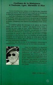 Coulisses De La Resistance A Toulouse, Lyon, Marseille Et Nice - 4ème de couverture - Format classique