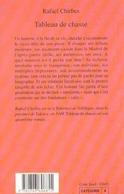 Tableau De Chasse - 4ème de couverture - Format classique