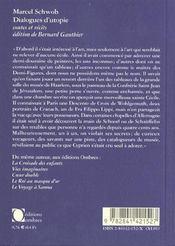 Dialogues D'Utopie - 4ème de couverture - Format classique
