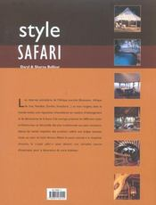Style Safari - 4ème de couverture - Format classique