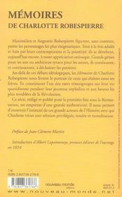 Mémoires - 4ème de couverture - Format classique