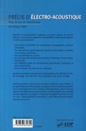 Précis d'électro-acoustique ; prise de son et reproduction - 4ème de couverture - Format classique