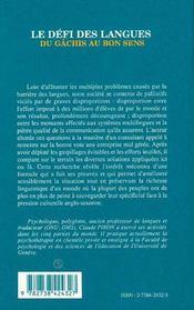 Le Defi Des Langues ; Du Gachis Au Bon Sens - 4ème de couverture - Format classique