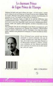 Le Charmant Prince De Ligne Prince De L'Europe - 4ème de couverture - Format classique