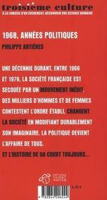 1968, années politiques - 4ème de couverture - Format classique