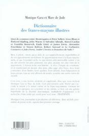 Dictionnaire Des Francs Macons Illustres - 4ème de couverture - Format classique