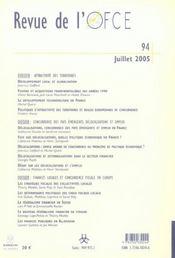 Revue De L'Ofce N.94 ; Attractivité, Délocalisations Et Concurrence Fiscale - 4ème de couverture - Format classique