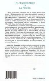 L'Alphabetisation Et La Pensee ; Contextes Et Effets Cognitifs De L'Alphabetisme - 4ème de couverture - Format classique