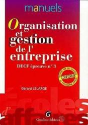 Organ.Gestion Entrepr.Decf N 3 - Couverture - Format classique