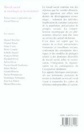Travail social et sociologie de la modernité - 4ème de couverture - Format classique