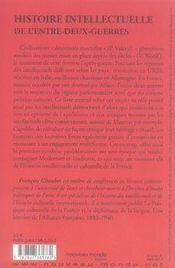 Histoire Intellectuelle De L'Entre-Deux-Guerres ; Culture Et Politique - 4ème de couverture - Format classique
