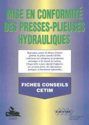 Mise en conformite des presses plieuses hydrauliques ; fiches conseils 6d25 - Couverture - Format classique