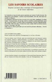 Les Savoirs Scolaires - 4ème de couverture - Format classique