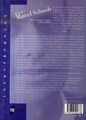 Retours à Marcel Schwob. d'un siècle à l'autre (1905-2005) - 4ème de couverture - Format classique
