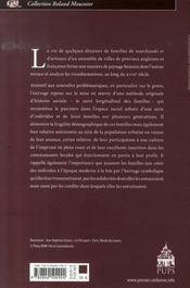 L'individu et la famille dans les sociétés urbaines anglaise et française, 1720-1780 - 4ème de couverture - Format classique