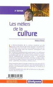 Les metiers de la culture - 4ème de couverture - Format classique