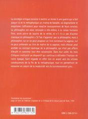 La Strategie Critique De Kant - 4ème de couverture - Format classique