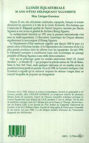 Guinée équatoriale ; 30 ans d'état délinquant nguemiste - 4ème de couverture - Format classique