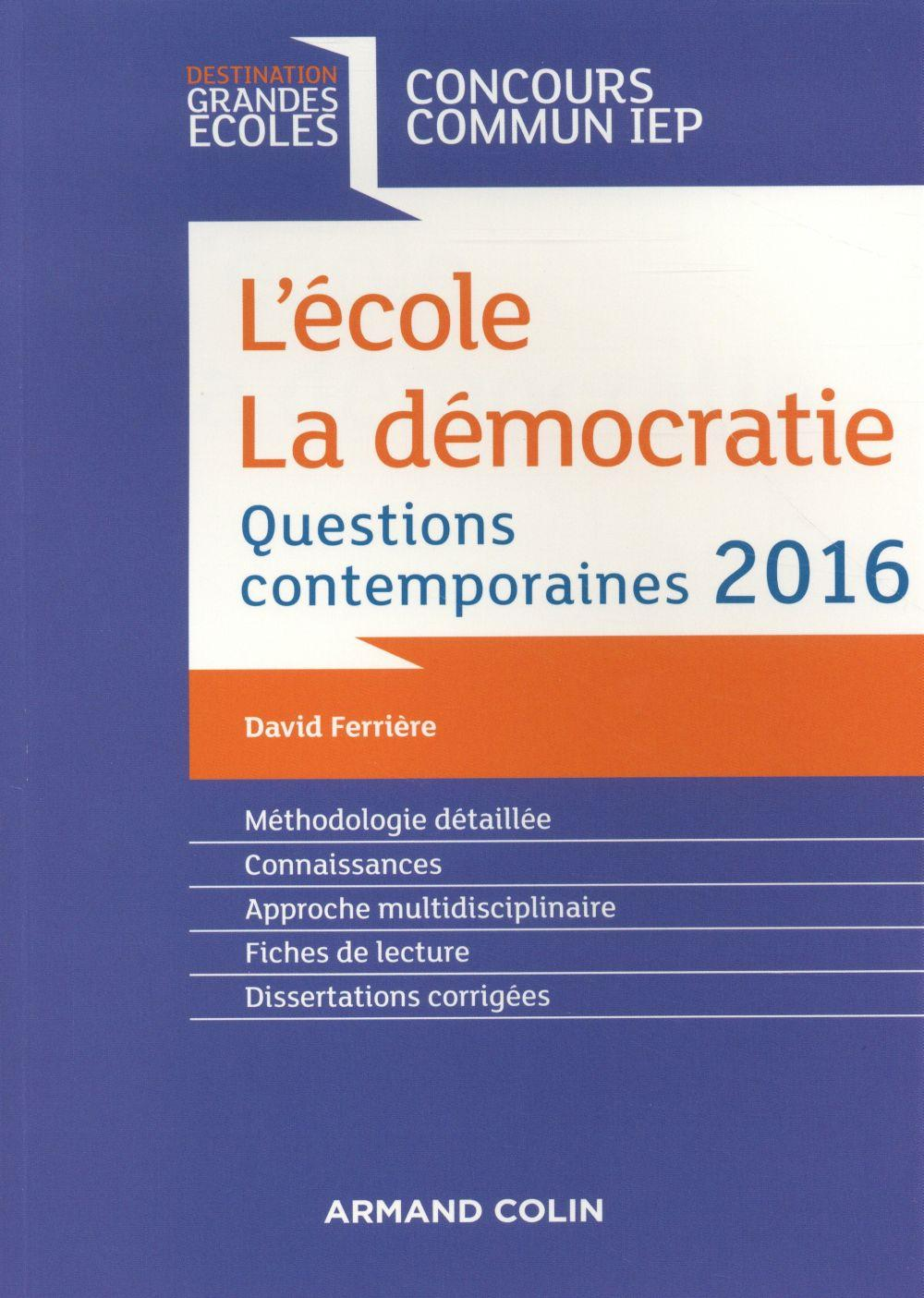 Questions contemporaines ; concours commun IEP (édition 2016)  - David Ferriere
