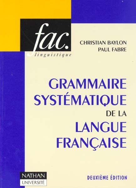 grammaire systematique de la langue francaise pdf