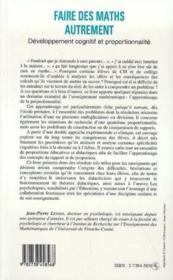 Faire Des Maths Autrement: Developpement Cognitif Et Proportionnalite - 4ème de couverture - Format classique