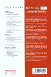 Revue Enfances Adolescences N.3 ; Construction De L'Objet Psychique - 4ème de couverture - Format classique