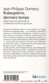 Robespierre derniers temps - 4ème de couverture - Format classique