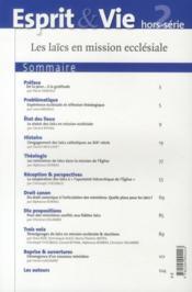 Revue Esprit Et Vie ; Les Laïcs En Mission Ecclésiale - 4ème de couverture - Format classique