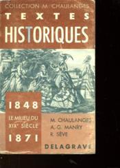 Textes Historiques 1848-1871 - Le Milieu Du Xix Siecle - Couverture - Format classique