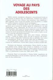 Voyage Au Pays Des Adolescents - 4ème de couverture - Format classique