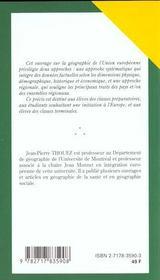 L'Union Europeenne, Precis Geographique - 4ème de couverture - Format classique