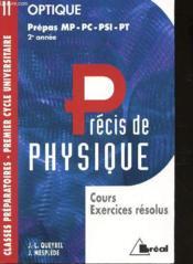 Precis de physique t.11 ; optique mp-pc-psi-pt - Couverture - Format classique