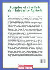 Comptes et resultats de l'entreprise agricole - 4ème de couverture - Format classique