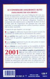 Assurance Auto. Faites Respecter Vos Droits. Indemnisation, Accident, Vol, Bonus... - 4ème de couverture - Format classique