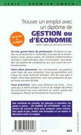 Decrocher Un Emploi Avec Un Diplome D'Economie-Gestion (Maitrise, Dea, Dess) - 4ème de couverture - Format classique