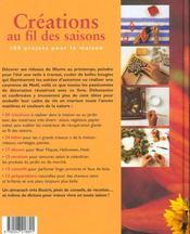 Creations Au Fil Des Saisons - 4ème de couverture - Format classique