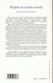 Projets En Action Sociale Entre Contraintes Et Creati - 4ème de couverture - Format classique