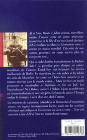 Ali et nino - ne - 4ème de couverture - Format classique