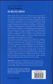 Au-delà de l'emploi ; le rapport Supiot (édition 2016) - 4ème de couverture - Format classique
