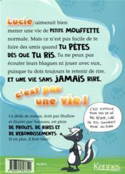 Lucie La Mouffette T.1 ; Lucie La Mouffette qui pète quand elle rit - 4ème de couverture - Format classique