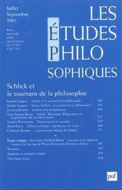 REVUE LES ETUDES PHILOSOPHIQUES N.2001/3 ; Schlick et le tournant de la philosophie - Intérieur - Format classique
