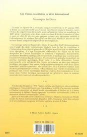 Les unions monétaires en droit international - 4ème de couverture - Format classique