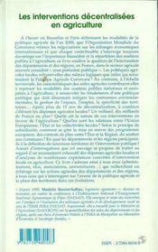 Les Interventions Decentralisees En Agriculture, Essai Sur La Composante Territoriale De La Politique Agricole - 4ème de couverture - Format classique