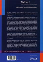 Algèbre t.1 - 4ème de couverture - Format classique