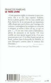 Le tiers livre (texte original et translation en francais moderne) - 4ème de couverture - Format classique