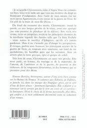 Apologie pour clytemnestre - 4ème de couverture - Format classique