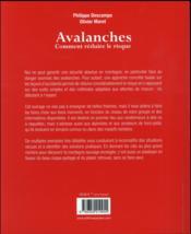 Avalanches ; comment réduire le risque - 4ème de couverture - Format classique