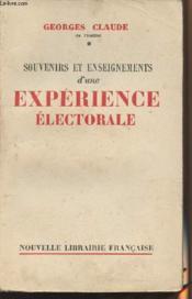 Souvenirs et enseignements d'une expérience électorale - Couverture - Format classique